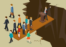 Democracy politics system imbalance collaple concept flat 3d web isometric