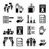 Democracy, voting, politics vector icon set Stock Photography