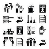 Democracy, voting, politics vector icon set Stock Photography