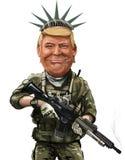 Democracy warrior themed cartoon portrait of Donald Tump - Illus. May 18, Democracy warrior themed cartoon of Donald Trump - Illustration of the American Stock Images