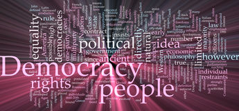 Democracy word cloud glowing Stock Photography
