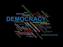 DEMOCRACY - word cloud wordcloud - terms from the globalization, economy and policy environment. Wordcloud with series of terms from the globalization, economy Stock Images