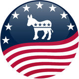 Democrat Button - Waving Flag Stock Images
