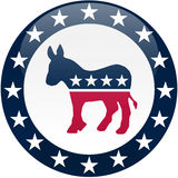 Democrat Button - White And Blue Royalty Free Stock Photo