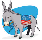 Democrat Donkey with American Flag and Pennant, Vector Illustration Royalty Free Stock Photos
