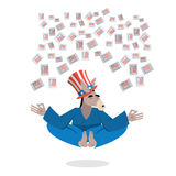 Democrat Donkey hat Uncle Sam meditating votes in elections. Che Stock Photos