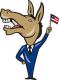 Democrat Donkey Mascot American Flag Stock Photography