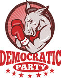 Democrat Donkey Mascot Boxing. Illustration of a democrat donkey mascot of the democratic grand old party gop boxer boxing with gloves set inside circle done in Stock Images