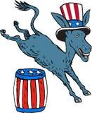 Democrat Donkey Mascot Jumping Over Barrel Cartoon Royalty Free Stock Image