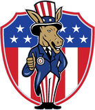Democrat Donkey Mascot Thumbs Up Flag. Illustration of a democrat donkey mascot of the democratic grand old party gop wearing hat and suit thumbs up set inside Royalty Free Stock Photography