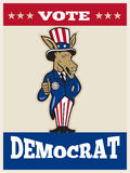 Democrat Donkey Mascot Thumbs Up Flag Stock Image