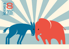 Democrat donkey and republican elephant. Butting heads Stock Photo