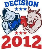Democrat Donkey Republican Elephant Decision 2012 Stock Image