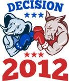 Democrat Donkey Republican Elephant Decision 2012. Illustration of a democrat donkey mascot of the democratic grand old party gop and republican elephant boxer Stock Image