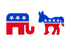 Democrat Donkey and Republican Elephant. Isolated on white background. 3D render Stock Image