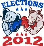Democrat Donkey Republican Elephant Mascot 2012. Illustration of a democrat donkey mascot of the democratic grand old party gop and republican elephant boxer Stock Photography