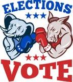 Democrat Donkey Republican Elephant Mascot. Illustration of a democrat donkey mascot of the democratic grand old party gop and republican elephant boxer boxing Royalty Free Stock Image
