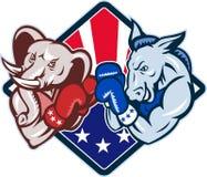 Democrat Donkey Republican Elephant Mascot Boxing. Illustration of a democrat donkey mascot of the democratic grand old party gop and republican elephant boxer Stock Photography