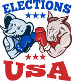 Democrat Donkey Republican Elephant Mascot USA. Illustration of a democrat donkey mascot of the democratic grand old party gop and republican elephant boxer Royalty Free Stock Images
