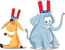 Democrat Donkey and Republican Elephant Vector Election Cartoon Stock Photography