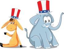 Democrat Donkey and Republican Elephant Vector Election Cartoon Stock Photography