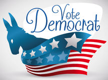 Democrat Donkey Silhouette with Patriotic Ribbons with American Design, Vector Illustration Stock Image