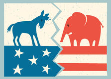 Democrat donkey versus republican elephant. Political illustration Stock Image