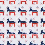 Democrat donkeys seamless pattern on american. Democrat donkeys seamless pattern on american stars background. USA presidential elections patriotic wallpaper Stock Images