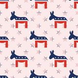 Democrat donkeys seamless pattern on national. Democrat donkeys seamless pattern on national stars background. USA presidential elections patriotic wallpaper Royalty Free Stock Photo