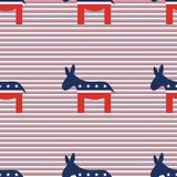 Democrat donkeys seamless pattern on red and blue. Democrat donkeys seamless pattern on red and blue diagonal stripes background. USA presidential elections Royalty Free Stock Photo