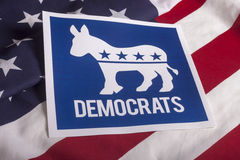 Democrat Election Vote and American Flag. Democrat election on textured American flag Stock Image