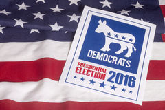 Democrat Election Vote and American Flag. Democrat election on textured American flag Stock Photography