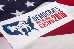 Democrat Election Vote and American Flag. Democrat election on textured American flag Stock Images