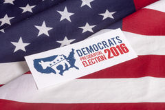 Democrat Election Vote and American Flag. Democrat election on textured American flag Stock Photos