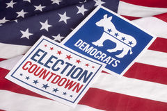 Democrat Election Vote Countdown and American Flag. Democrat election Countdown on textured American flag Royalty Free Stock Image