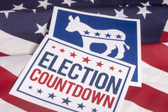 Democrat Election Vote Countdown and American Flag. Democrat election Countdown on textured American flag Stock Image