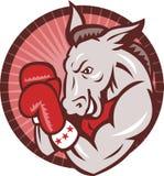 Democrat-Esel-Maskottchen-Boxer-Verpacken Retro- Lizenzfreies Stockbild