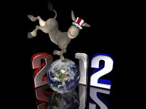 Democrat Kick - 2012. Political Donkey kicking up his back legs while standing on a segmented Earth. Isolated on a black background Stock Illustration