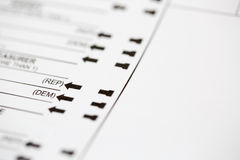 Democrat or Republican Choice on Voting Ballot Royalty Free Stock Photos