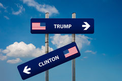 Democrat and republican concepts in american election. Concept of 2016 USA elections (Clinton vs Trump Royalty Free Stock Photo