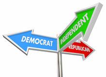 Democrat Republican Independent Three Signs Royalty Free Stock Image