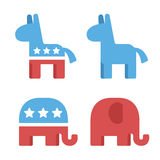 Democrat and republican symbols. Vector illustration of democrats and republicans elephant and donkey in simple flat style stock illustration