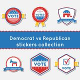 Democrat vs Republican stickers set. Buttons collection for USA presidential elections 2016. Pack of blue and red patriotic badges. Round lables vector Royalty Free Illustration