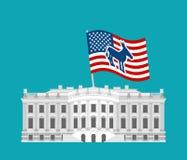 Democrat win White House. Flag blue donkey. Political presidenti Stock Photo