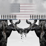 Democratic American Election Fight. Concept as two mountain cliffs shaped as a donkey symbol clashing head to head damaging the left party as a United States Stock Images