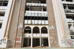 Democratic Constitutional Rally party building ruined during the Arab spring in Sfax, Tunisia. Stock Photo
