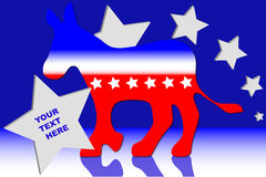 Democratic Donkey. Political democratic donkey over blue and white background with stars Stock Images