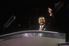 1992 Democratic National Convention Chairman, Ronald Brown, addresses crowd at Madison Square Garden, New York Royalty Free Stock Photo