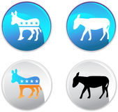 Democratic Party Buttons. Set of 4 Royalty Free Stock Images