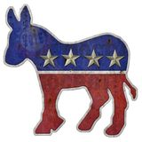 Democratic Logo Donkey Folkart. Democratic Party Logo Folk Art metal rustic rusted steel with tin stars and rivets textured rusted stock illustration